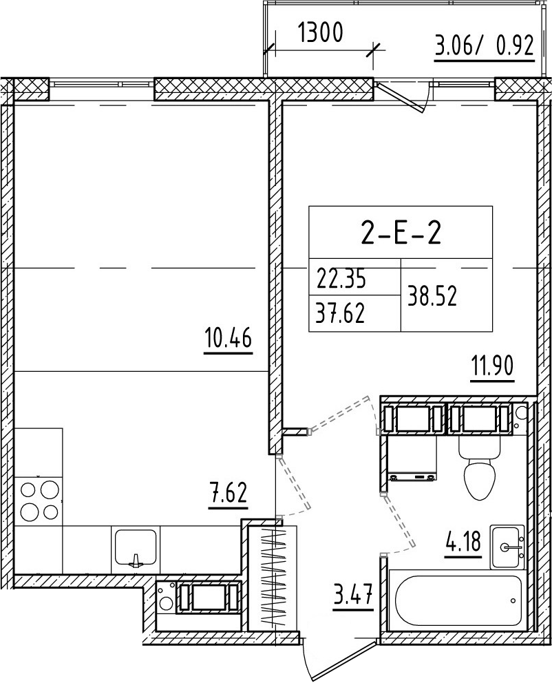 2-к.кв (евро), 40.76 м²