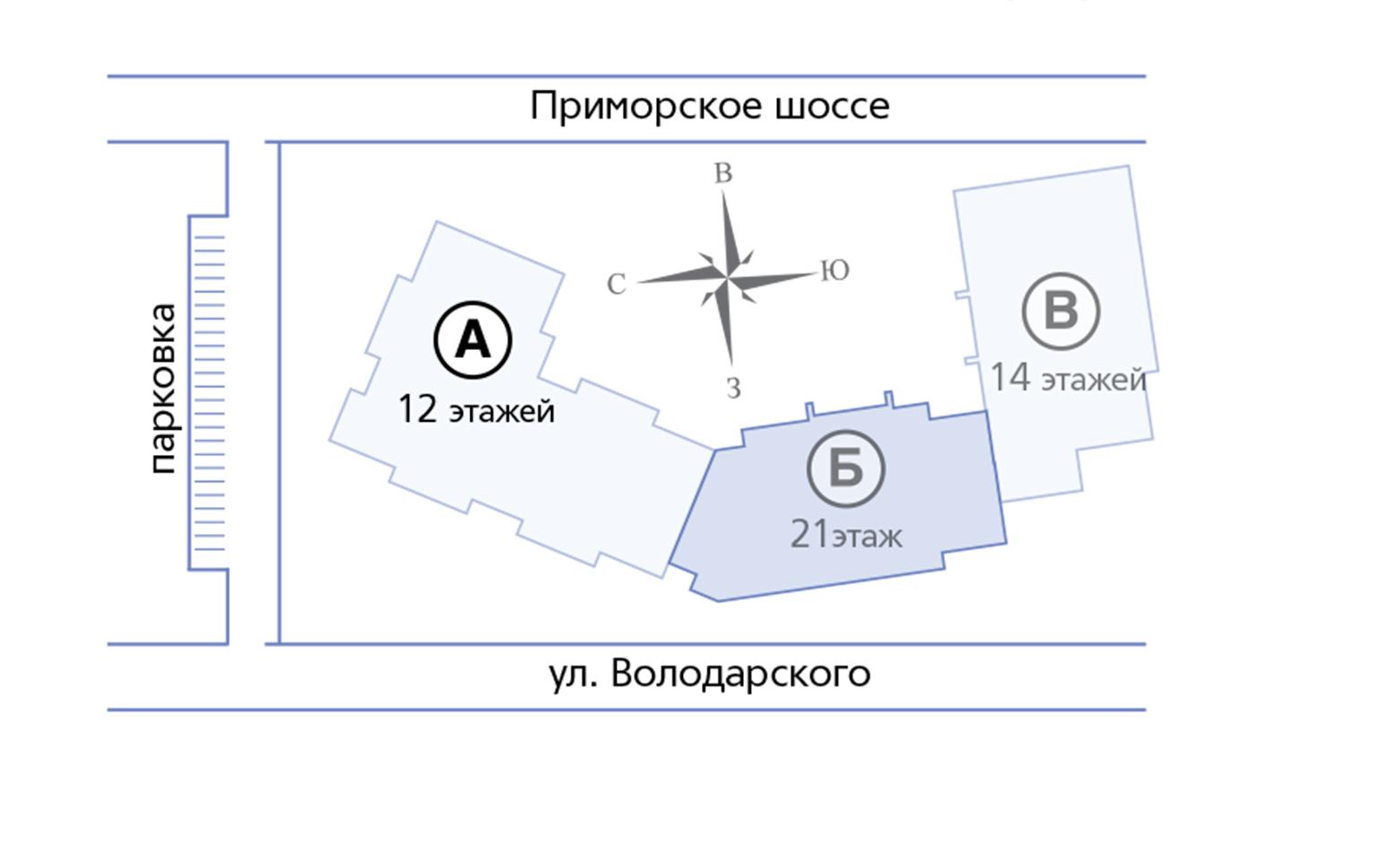 План жилого комплекса ЖК Пляж