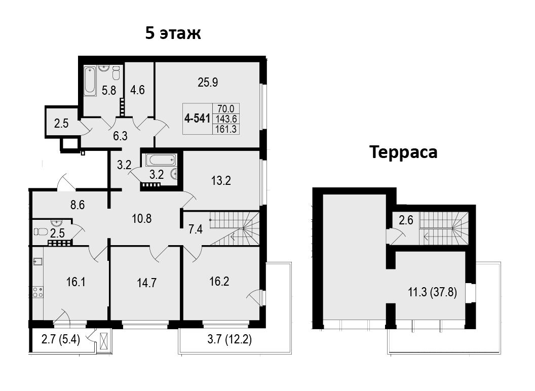 4-комнатная 199 м<sup>2</sup> на 5 этаже