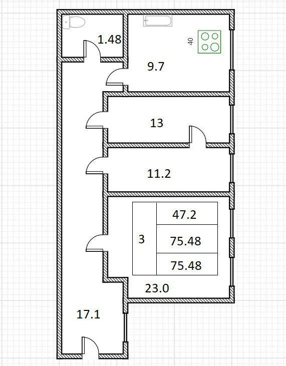 3-к.кв, 75.48 м²