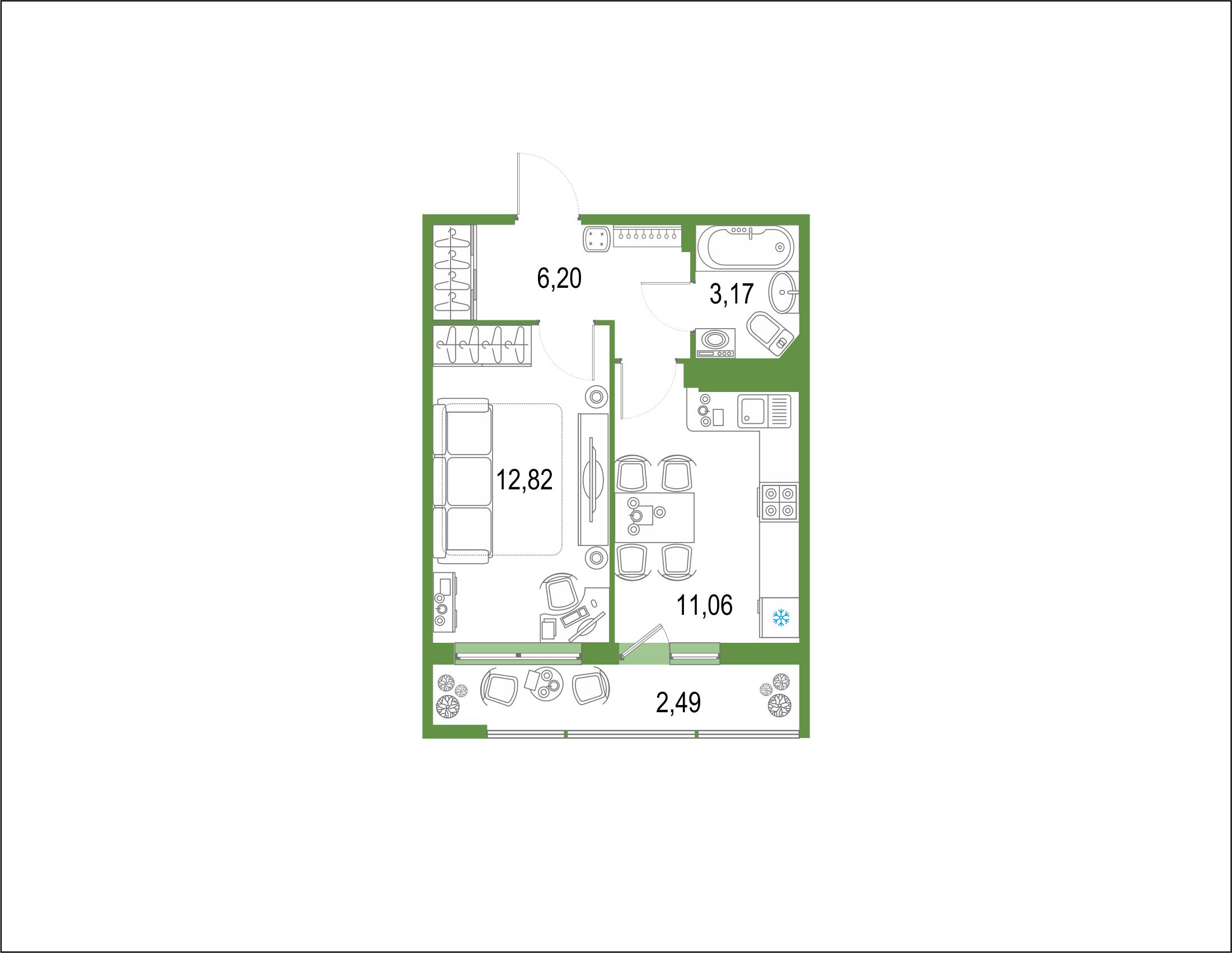 1-комнатная 38 м<sup>2</sup> на 22 этаже