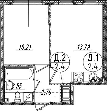 2-комнатная 30 м<sup>2</sup> на 6 этаже