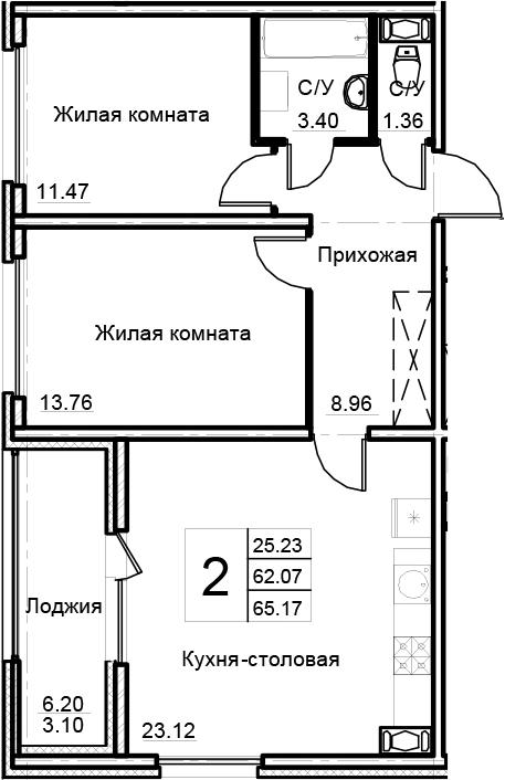3-комнатная 68 м<sup>2</sup> на 6 этаже