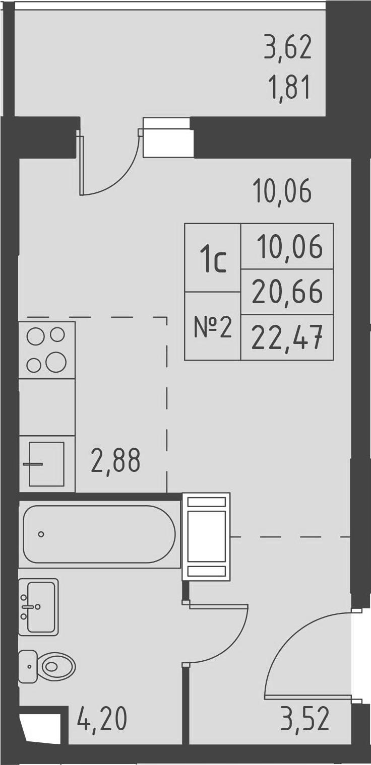 Студия, 24.28 м²