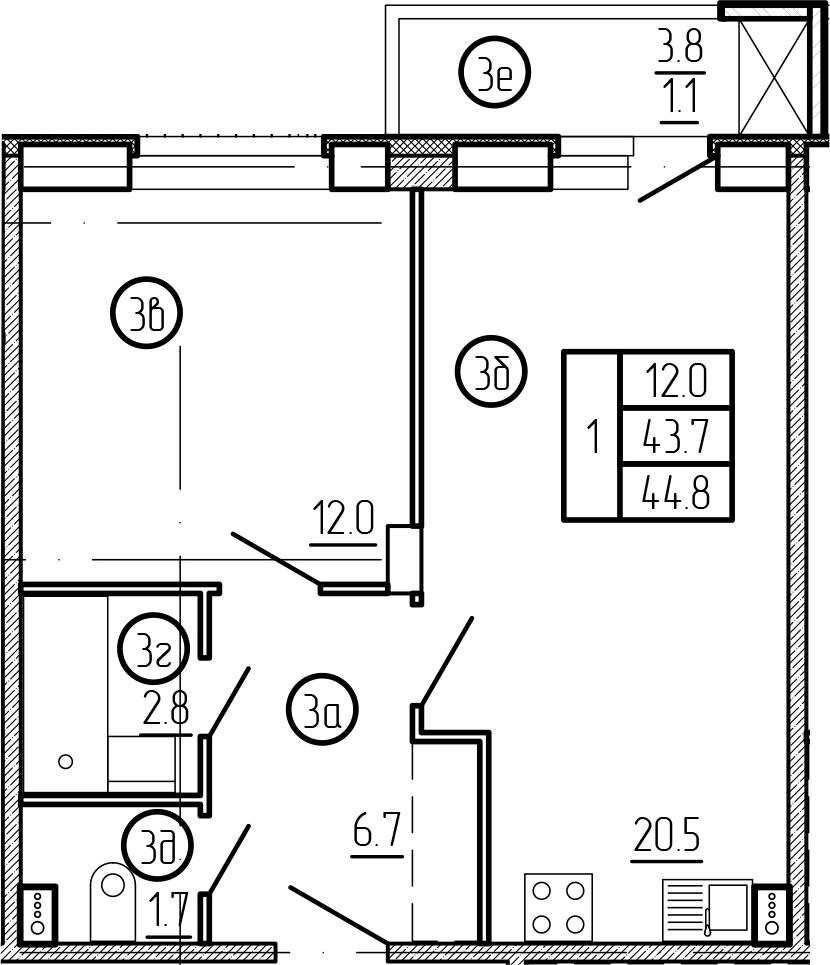 2-комнатная 47 м<sup>2</sup> на 1 этаже