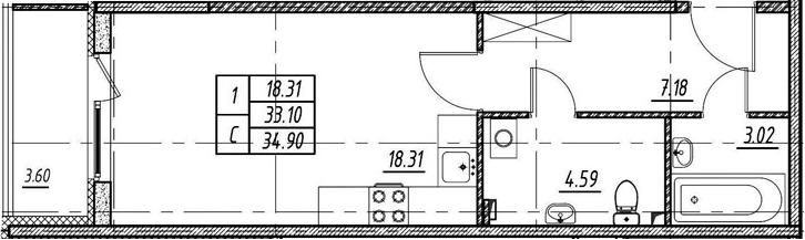 Студия 36 м<sup>2</sup> на 1 этаже