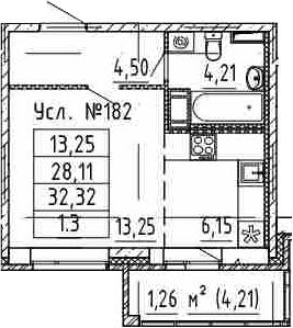 Студия, 32.32 м²