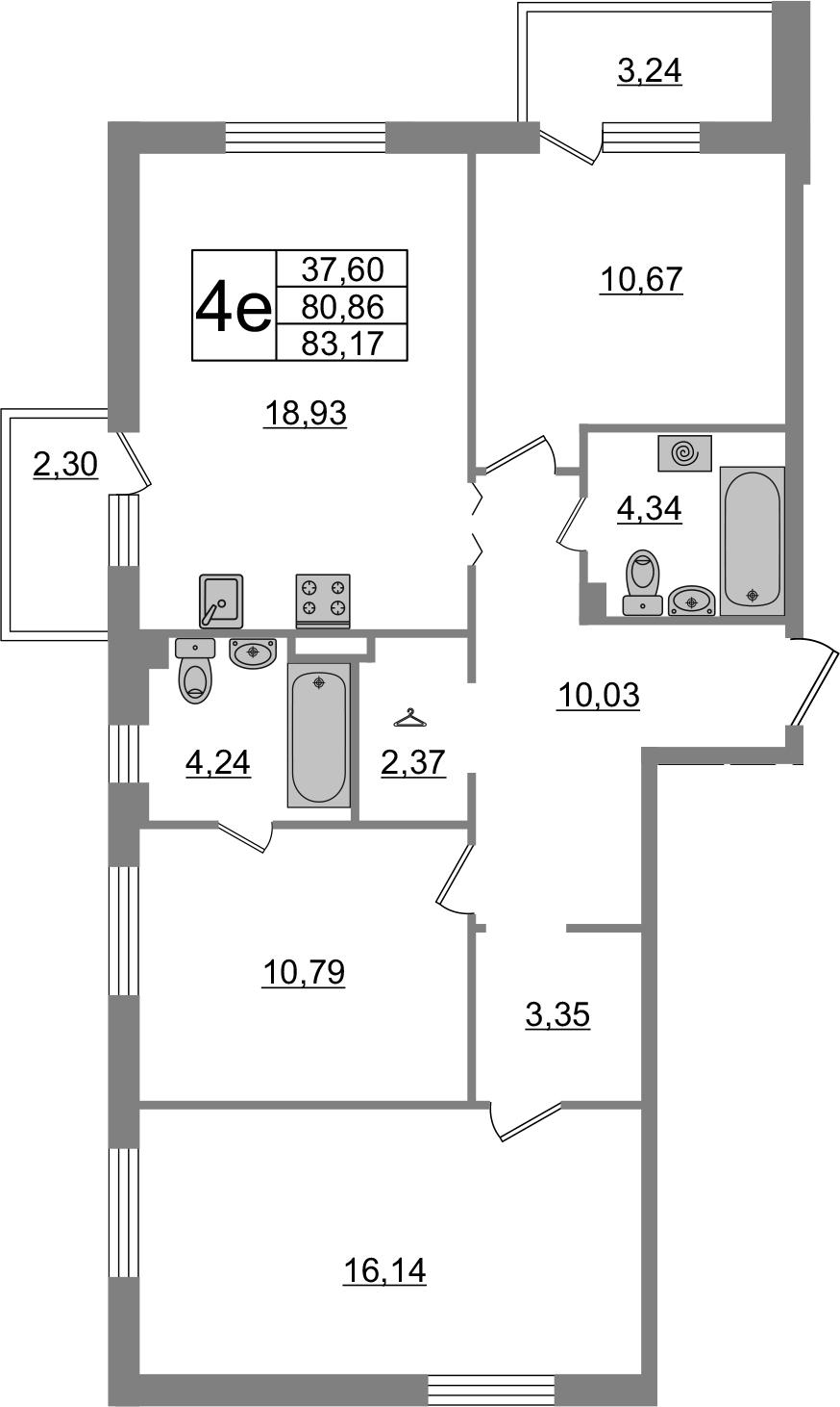 4-комнатная 86 м<sup>2</sup> на 1 этаже