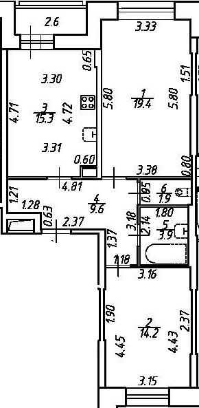3-комнатная 66 м<sup>2</sup> на 2 этаже