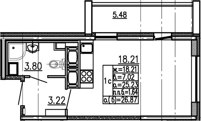 Студия 30 м<sup>2</sup> на 24 этаже