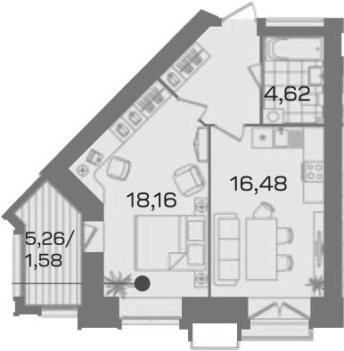 1-комнатная 50 м<sup>2</sup> на 4 этаже