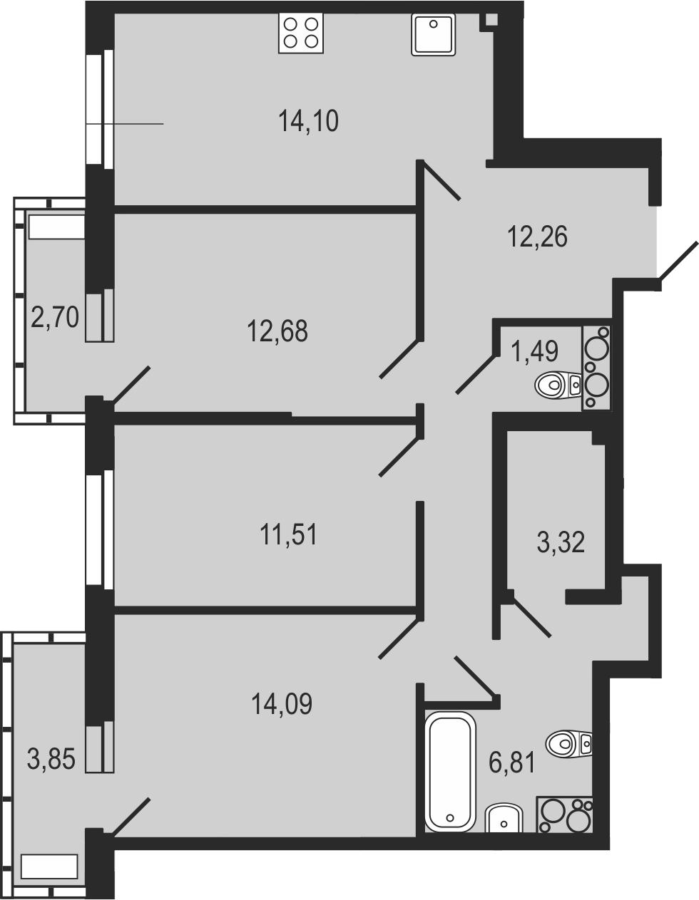 3-комнатная 82 м<sup>2</sup> на 16 этаже