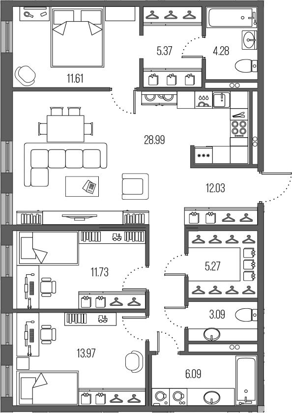 4-комнатная 102 м<sup>2</sup> на 2 этаже