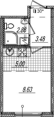Студия 19 м<sup>2</sup> на 10 этаже