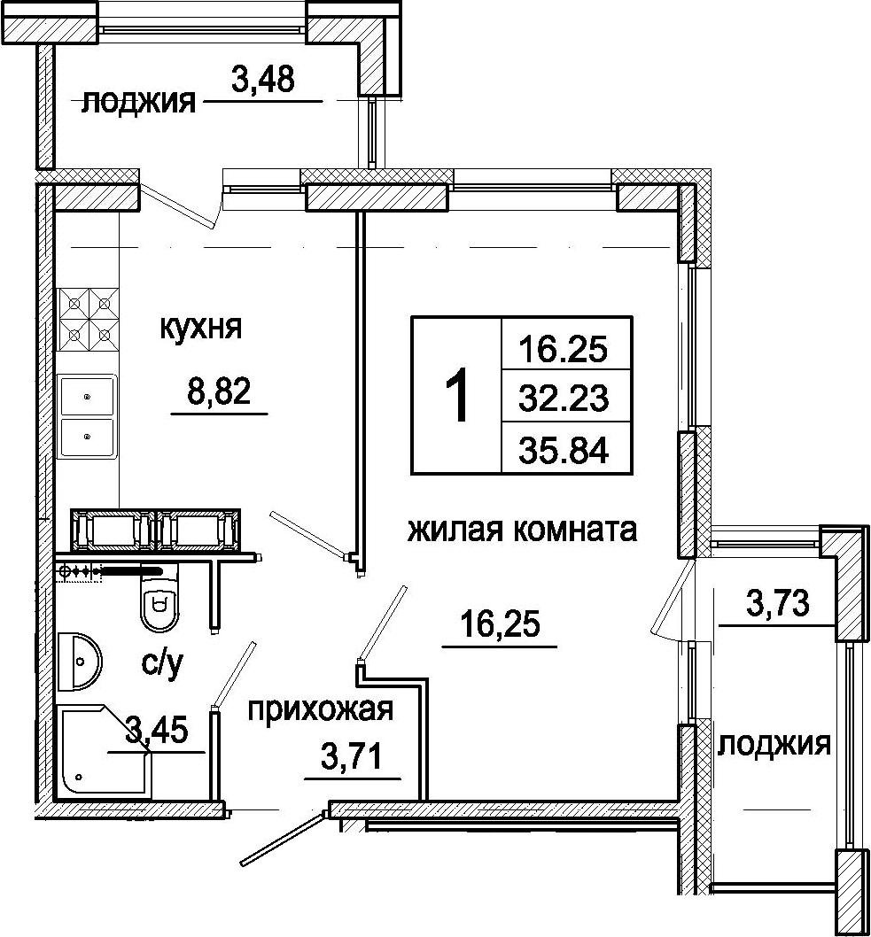 1-комнатная 39 м<sup>2</sup> на 16 этаже