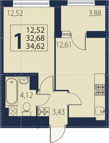 2-к.кв (евро), 36.56 м²