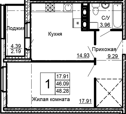 1-комнатная 50 м<sup>2</sup> на 14 этаже