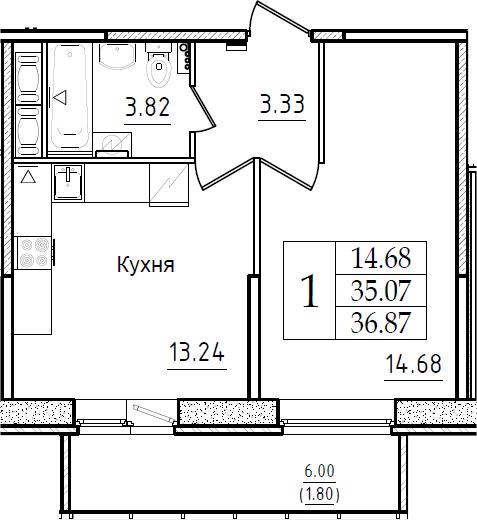 1-комнатная 41 м<sup>2</sup> на 10 этаже