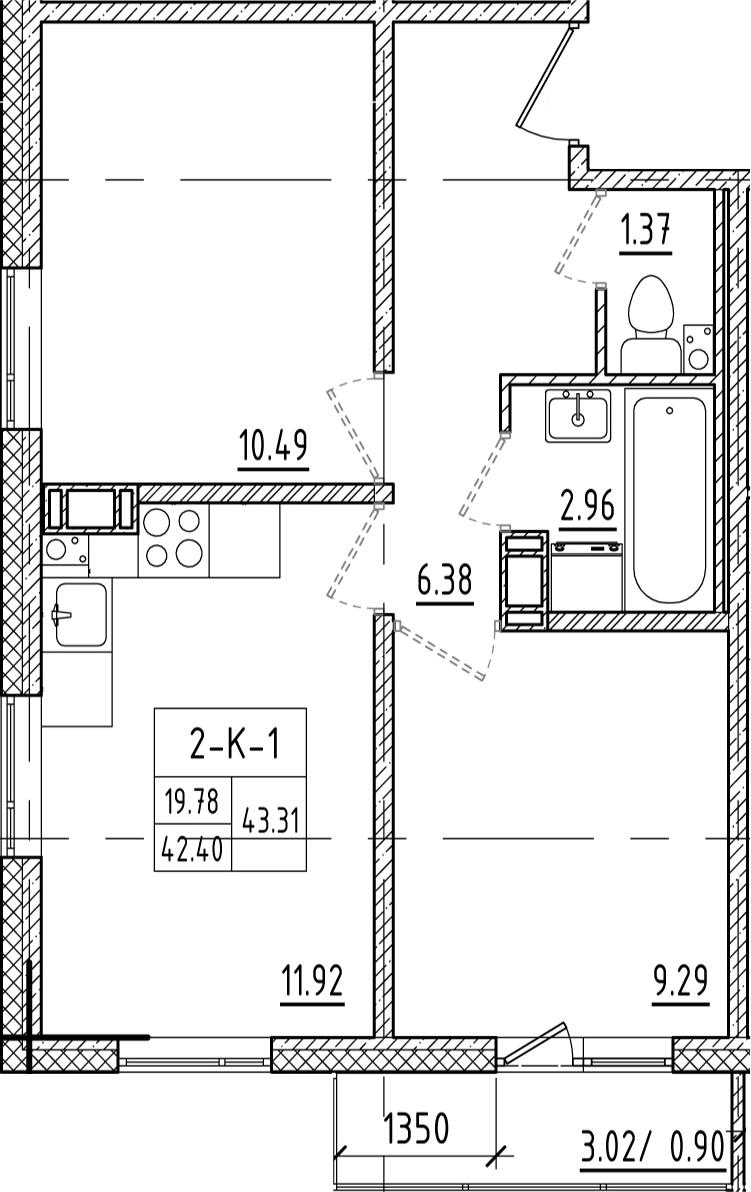 2-к.кв, 45.46 м²