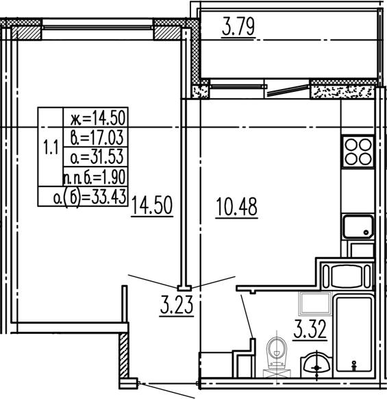 1-к.кв, 35.32 м²