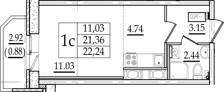 Студия 24 м<sup>2</sup> на 7 этаже