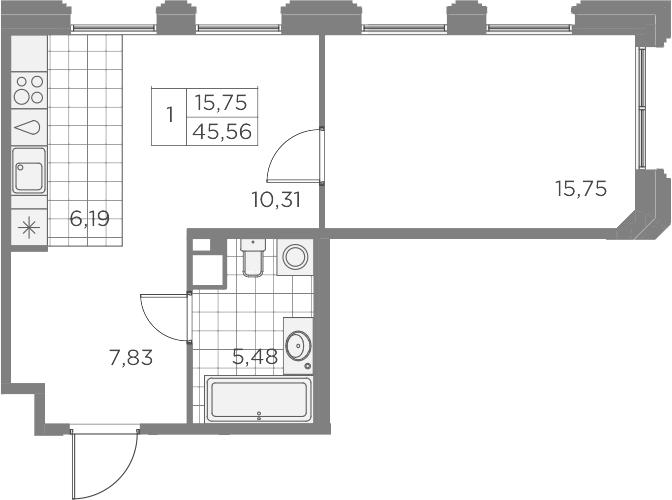 2-комнатная 45 м<sup>2</sup> на 8 этаже