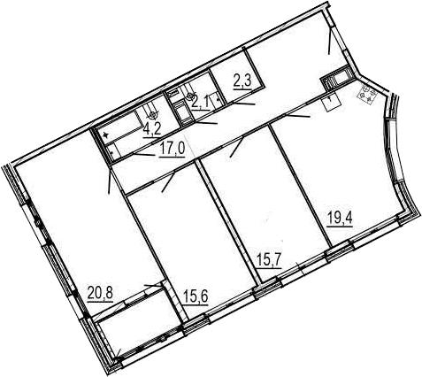 4-комнатная 101 м<sup>2</sup> на 5 этаже