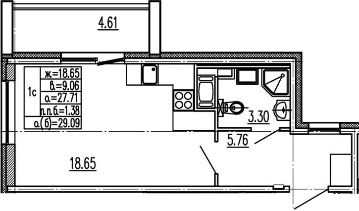 Студия 32 м<sup>2</sup> на 14 этаже