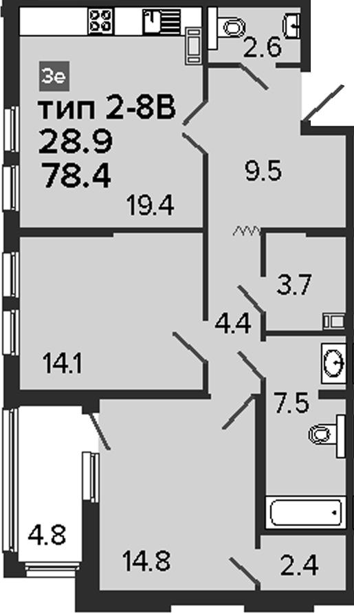 3-комнатная 83 м<sup>2</sup> на 8 этаже