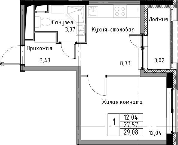1-к.кв, 30.59 м²