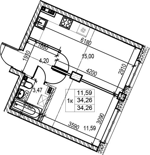 2-комнатная 34 м<sup>2</sup> на 3 этаже