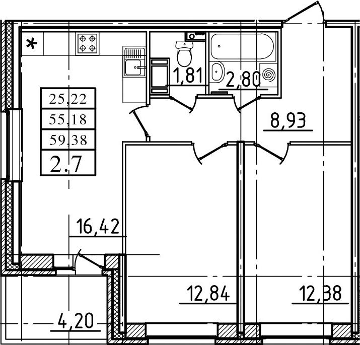 3-к.кв (евро), 59.38 м²