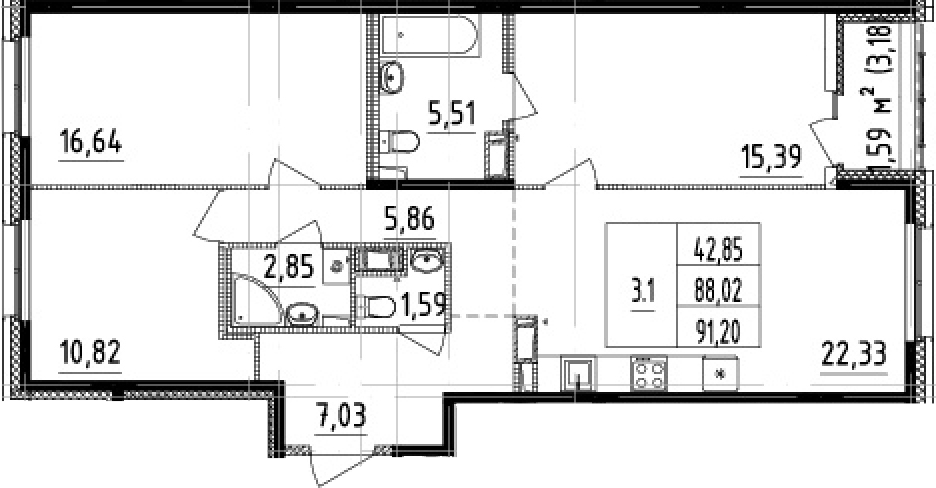 4-комнатная 91 м<sup>2</sup> на 2 этаже