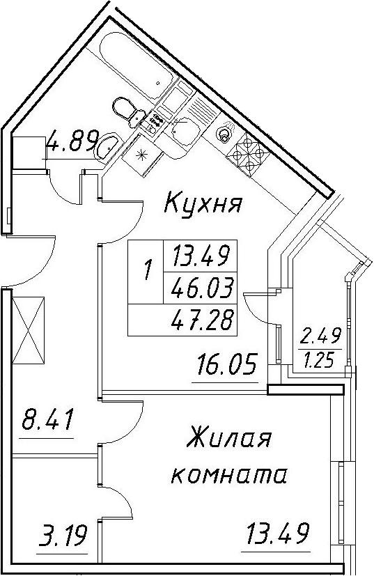 2-комнатная 48 м<sup>2</sup> на 12 этаже
