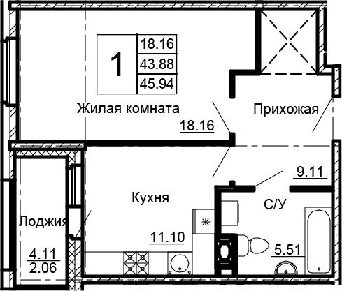 1-комнатная 48 м<sup>2</sup> на 13 этаже