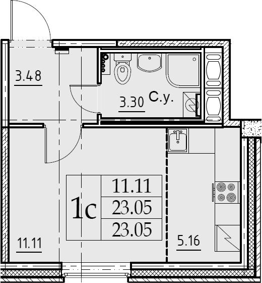 Студия 23 м<sup>2</sup> на 2 этаже