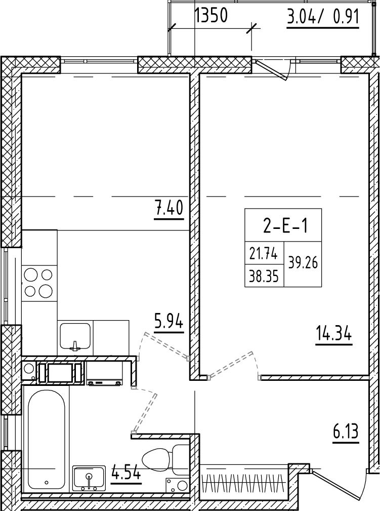 2-к.кв (евро), 40.93 м²