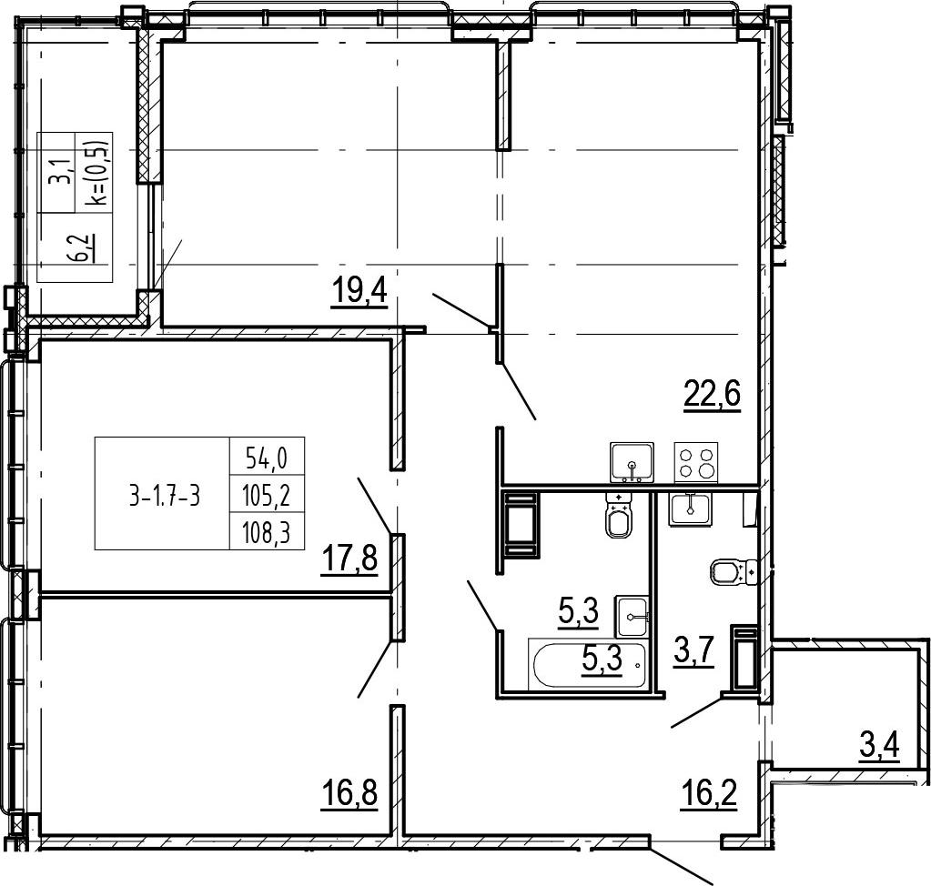 4-комнатная 111 м<sup>2</sup> на 17 этаже