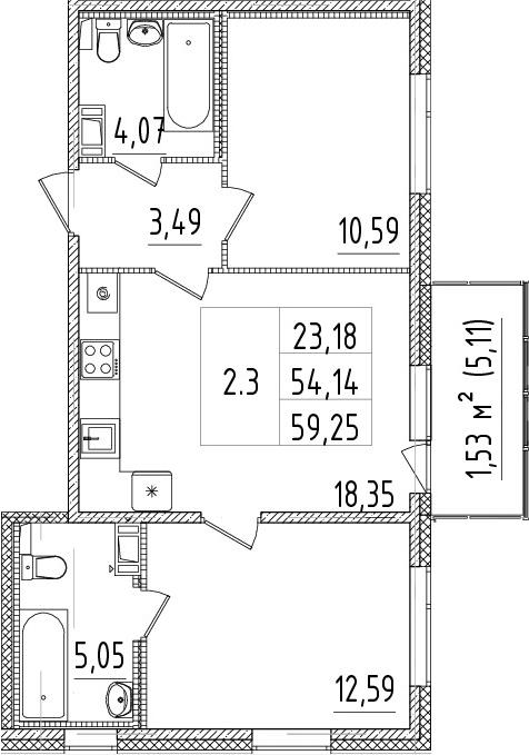3-комнатная 59 м<sup>2</sup> на 10 этаже