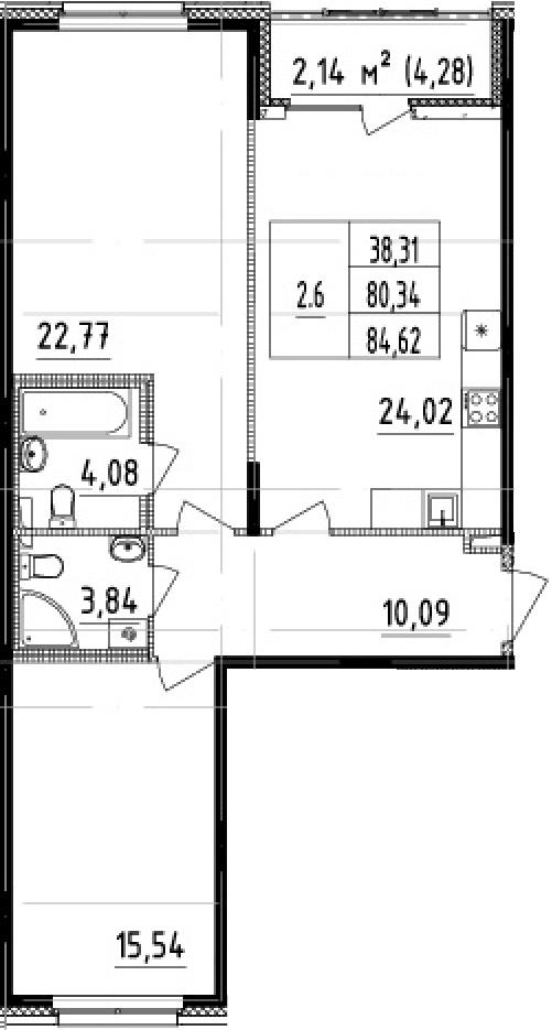 3-комнатная 84 м<sup>2</sup> на 2 этаже