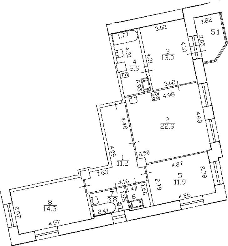 4-комнатная 91 м<sup>2</sup> на 7 этаже