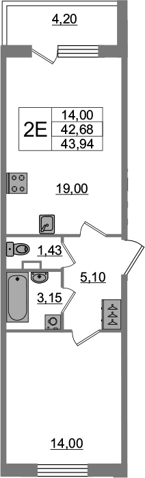 2-комнатная 46 м<sup>2</sup> на 1 этаже