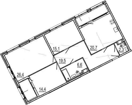 4-комнатная 115 м<sup>2</sup> на 5 этаже