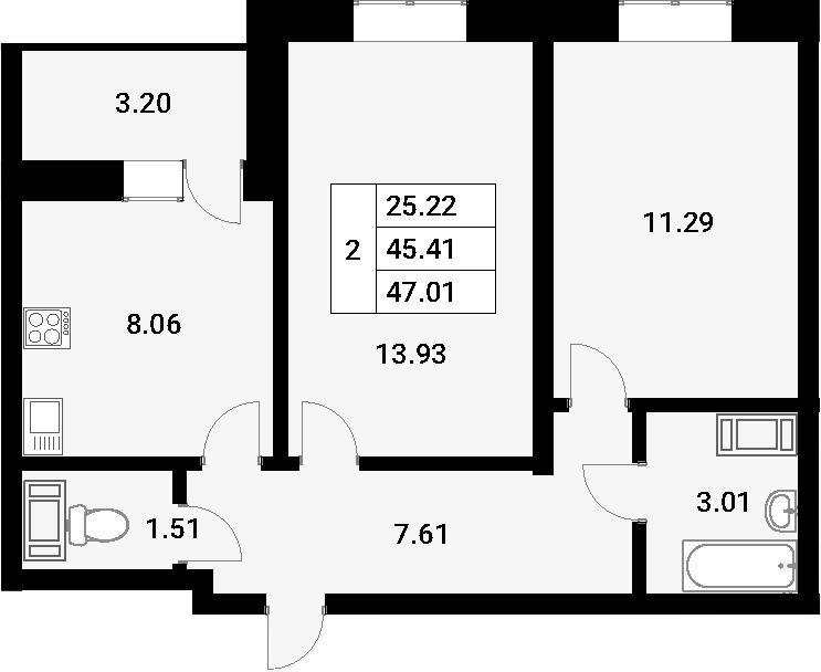 2-к.кв, 48.61 м²