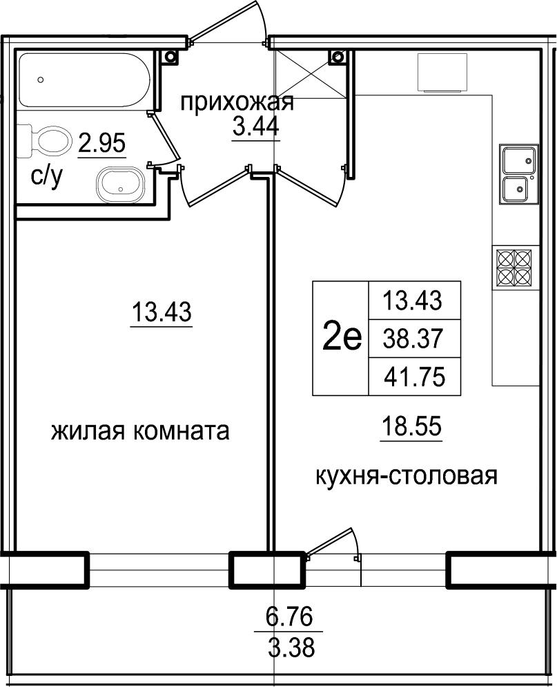 2-к.кв (евро), 45.13 м²