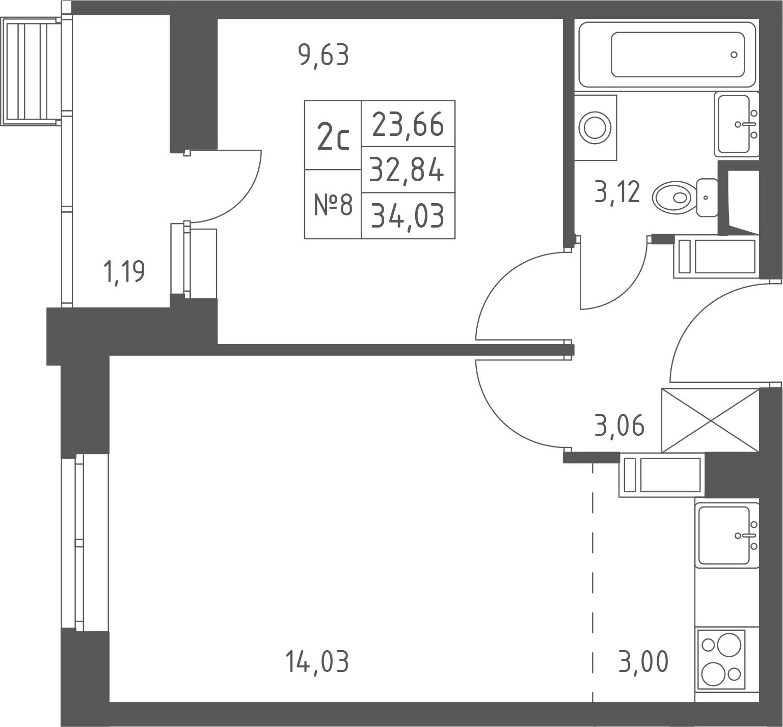 2-к.кв (евро), 35.22 м²