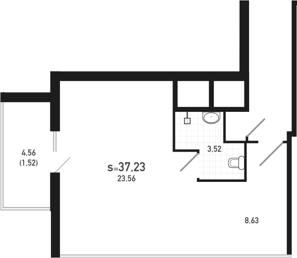 Студия 40 м<sup>2</sup> на 19 этаже
