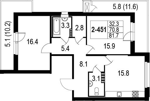 3-комнатная 92 м<sup>2</sup> на 4 этаже