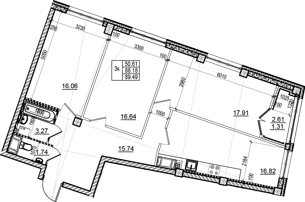 3-комнатная 90 м<sup>2</sup> на 6 этаже