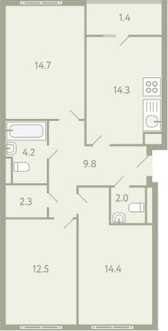3-к.кв, 83.8 м²